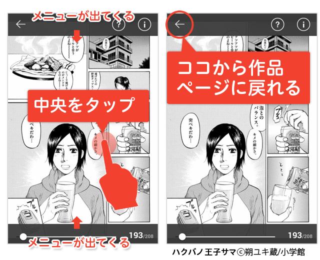 上部メニューの「←(戻る)」ボタンから作品ページに戻る