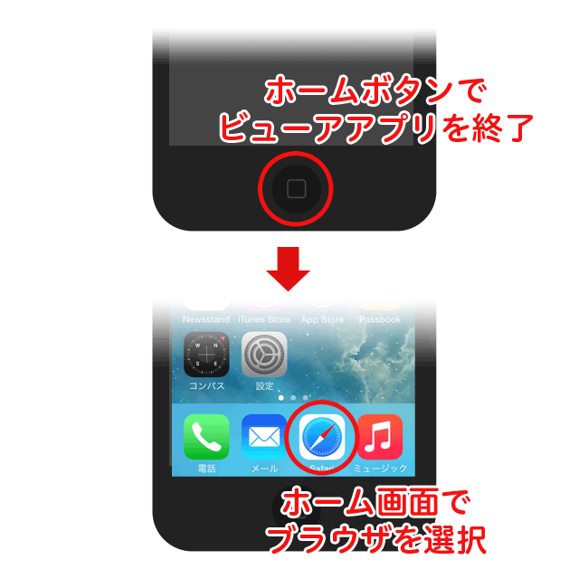 一旦アプリを終了しホーム画面からサイトを閲覧していたブラウザアプリ(safariなど)で戻って下さい